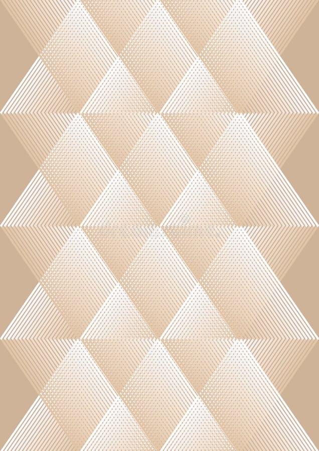 Samkopieringsbakgrund i kubistisk stil, vit och beige design, romboidiska modeller med rasterstrukturen stock illustrationer