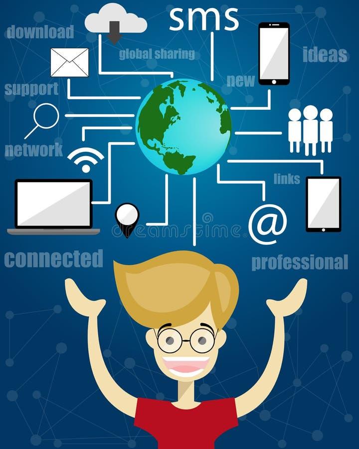 samkväm för globalt nätverk för kommunikation vektor illustrationer
