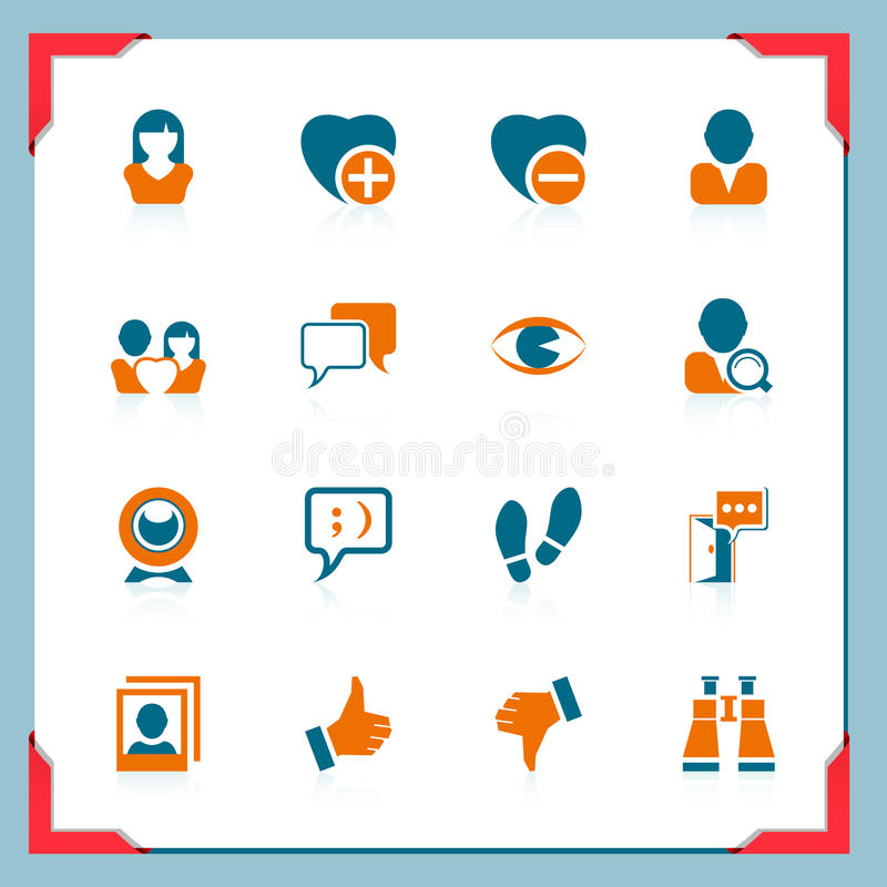 samkväm för serie för kommunikationsramsymboler royaltyfri illustrationer