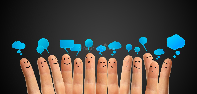 samkväm för tecken för pratstundfingergrupp lyckligt arkivfoton
