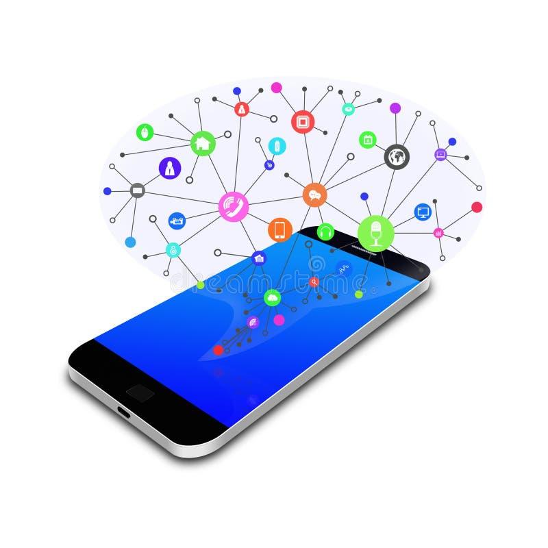 Samkväm med pratstundbubblan på den smarta telefonen, mobiltelefonillustration vektor illustrationer