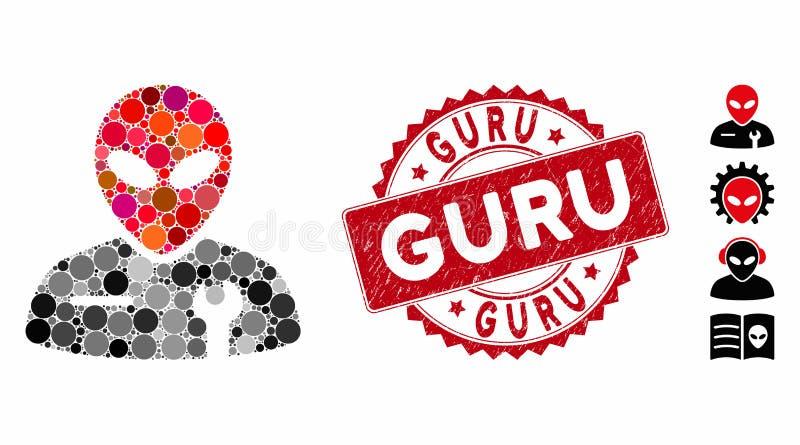 Samla in alienmekanisk ikon med Grunge Guru Stamp vektor illustrationer