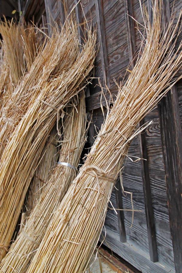 Samla av sugrör som bygger taket för gassho-stil hus royaltyfria foton