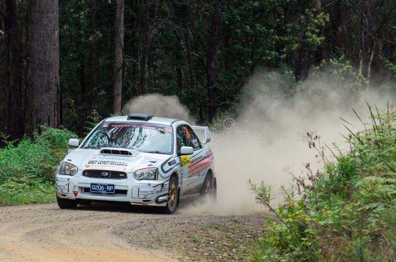 Samla bilen på Rally Victoria 2014 royaltyfri bild
