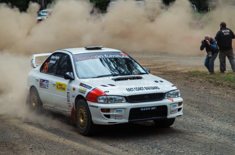 Samla bilen på Rally Victoria 2014 arkivbilder