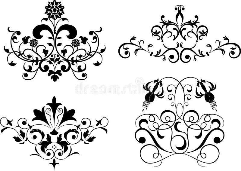samla den set vektorn för designelementblomman royaltyfri illustrationer