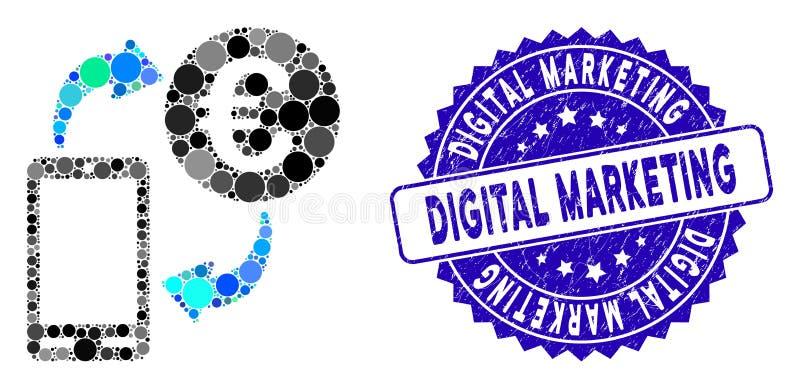 Samla ihop Euro Mobile Exchange-ikonen med Distress Digital Marketing Stamp vektor illustrationer