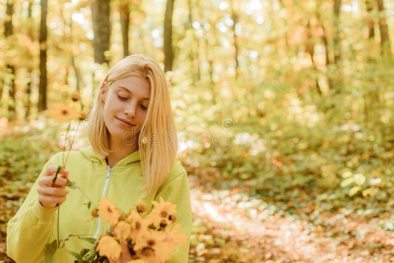 Samla skogblommor Blondinen tycker om f?r att koppla av skogh?stbuketten Varm h?st Flicka med blommor Kvinnan går höst royaltyfria bilder