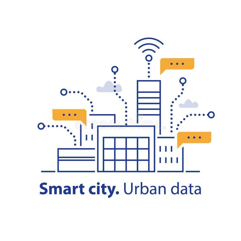Samla stads- data, smart stad, lämplig service, modern teknologi, kontorsbyggnadområde vektor illustrationer