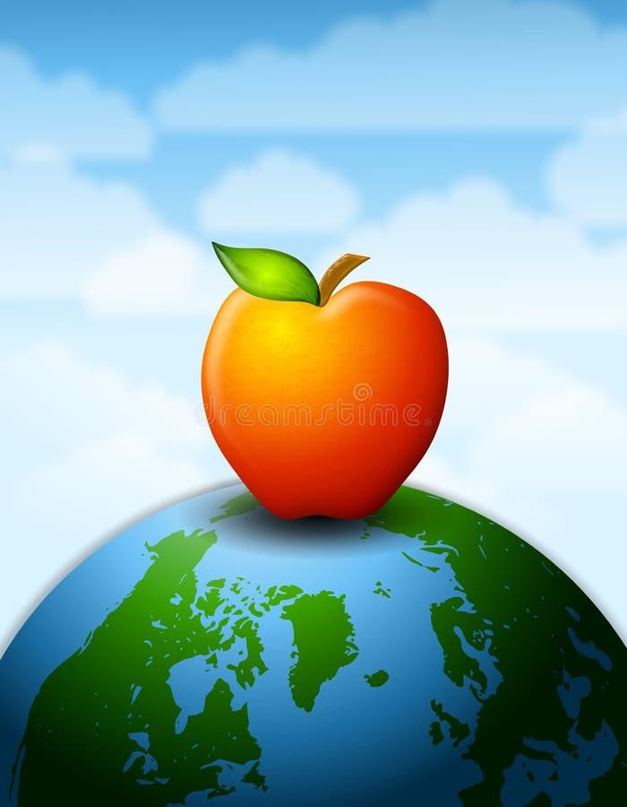 samlad jordkunskap för äpple stock illustrationer