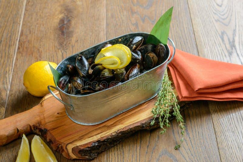 samlar musslor citronen royaltyfri foto