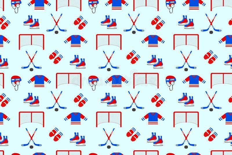 Samless Muster des Eishockeys Es kann für Leistung der Planungsarbeit notwendig sein Männer ` s wiederholte Beschaffenheit des Ei lizenzfreie abbildung