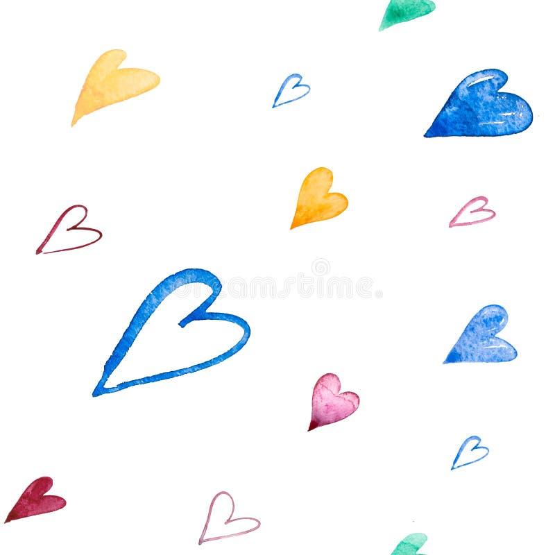 Samless wzór z ręką malował akwareli serca na białym tle Doskonalić dla romantycznych okazji tak jak ilustracji