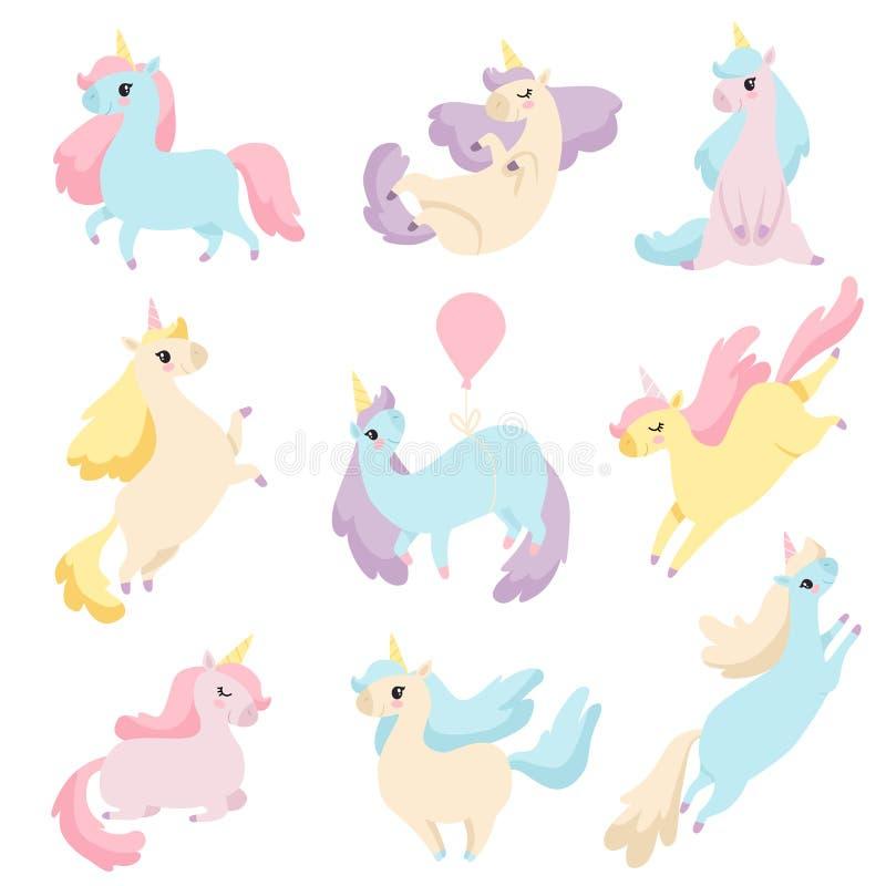 Samling av älskvärda enhörningar, gullig magisk illustration för fantasidjurvektor vektor illustrationer