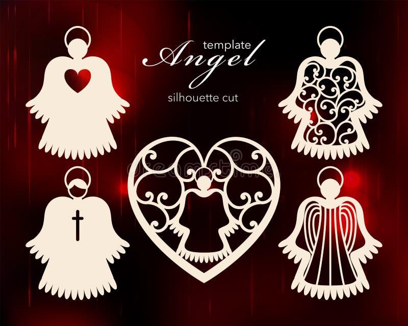 Samling av änglar Laser klippte designen för jul, valentins dag, påsken, bröllop En uppsättning av mallkonturn royaltyfri illustrationer