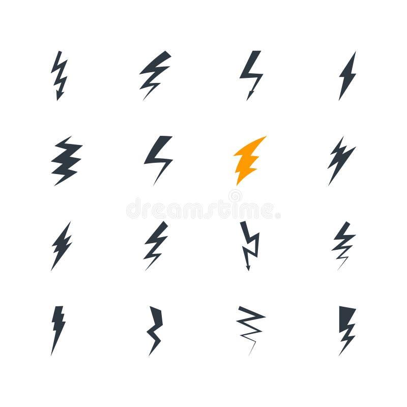 Samling av åskviggtecken Ställ in av blixtsymboler Plana designbeståndsdelar Vädersymboler vektor illustrationer