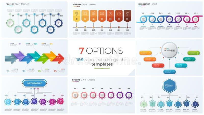 Samling av åtta vektormallar för infographics med 7 alternativ, moment, processar stock illustrationer
