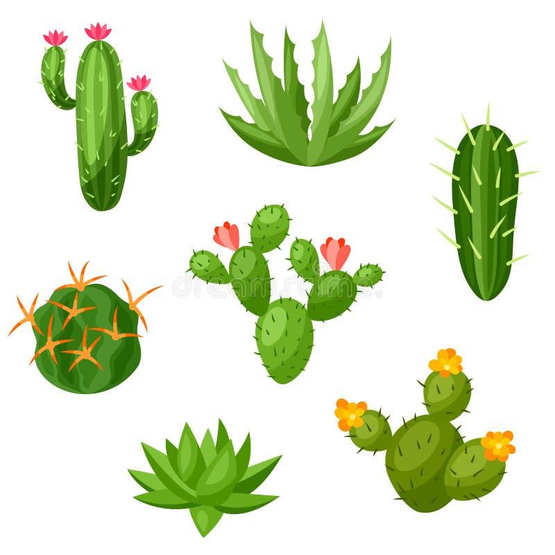 Samling av abstrakta kakturs och växter stock illustrationer