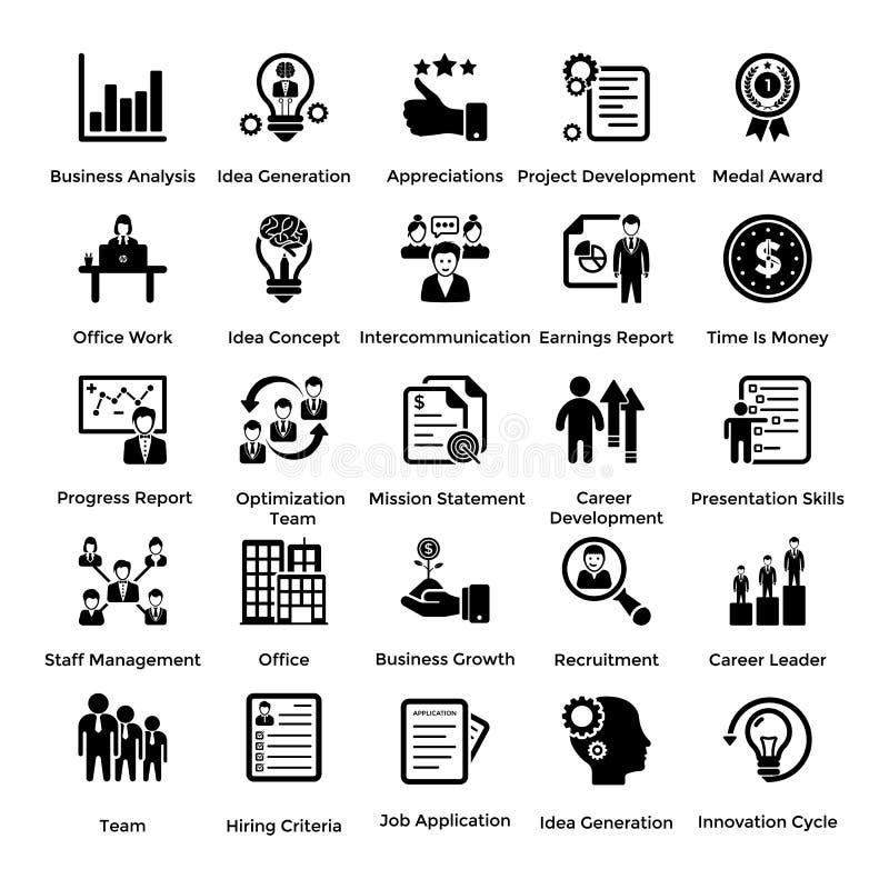 Samling av affärs- och ledningskårasymboler 8 vektor illustrationer