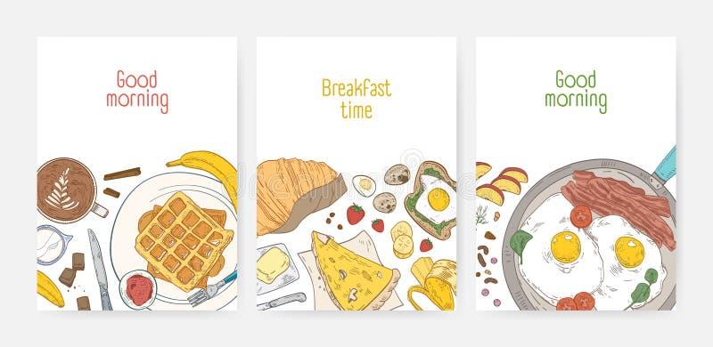 Samling av affisch- eller kortmallar med smakliga sunda frukostmål och morgonmat - stekte ägg, rån, kaffe royaltyfri illustrationer