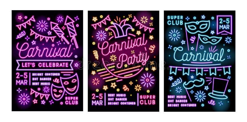 Samling av affisch-, reklamblad- eller inbjudanmallar för maskeradboll, karneval eller parti med festliga maskeringar och stock illustrationer