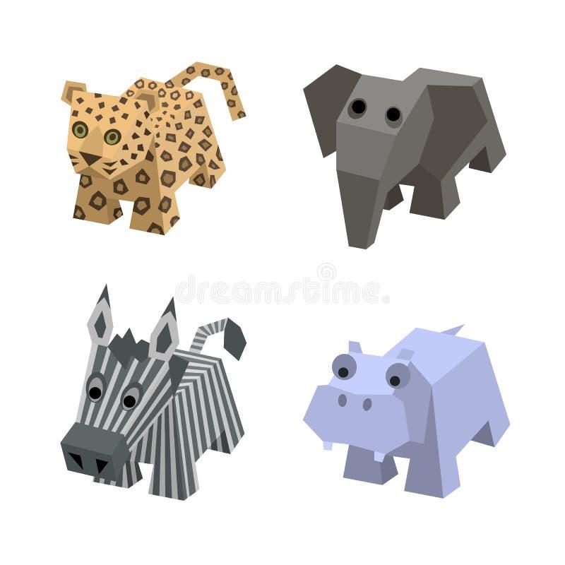 Samling av afrikanska isometriska djur i vektor vektor illustrationer