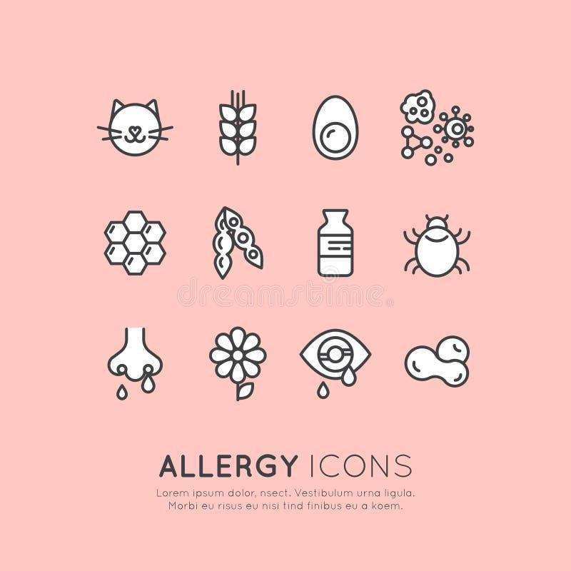 Samling av allergin, mat och den älsklings- intolerans-, hudreaktions-, ögon- och nässjukdomen för hemhjälp royaltyfri illustrationer