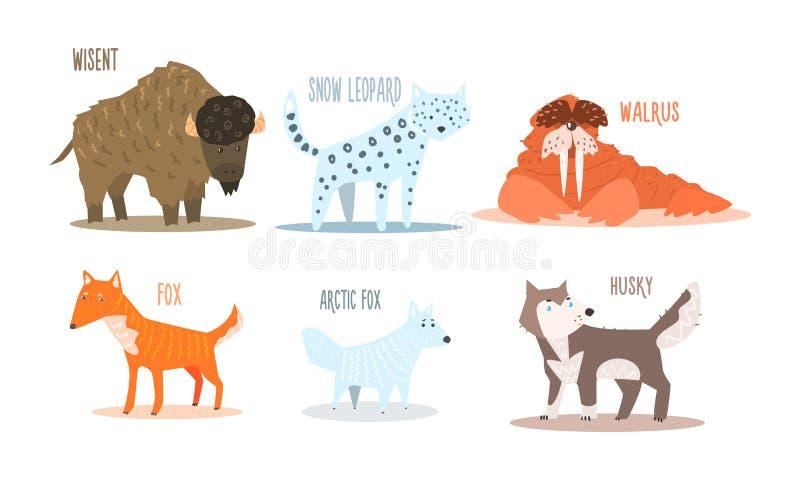 Samling av arktiska djur med namn, wisent, snöleopard, valross, räv, arktisk räv, skrovlig vektorillustration stock illustrationer