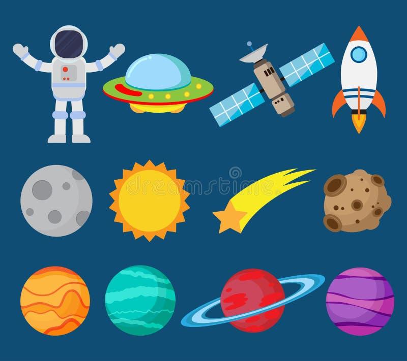 Samling av astronaut i utrymme- och planetvektoruppsättning royaltyfri illustrationer