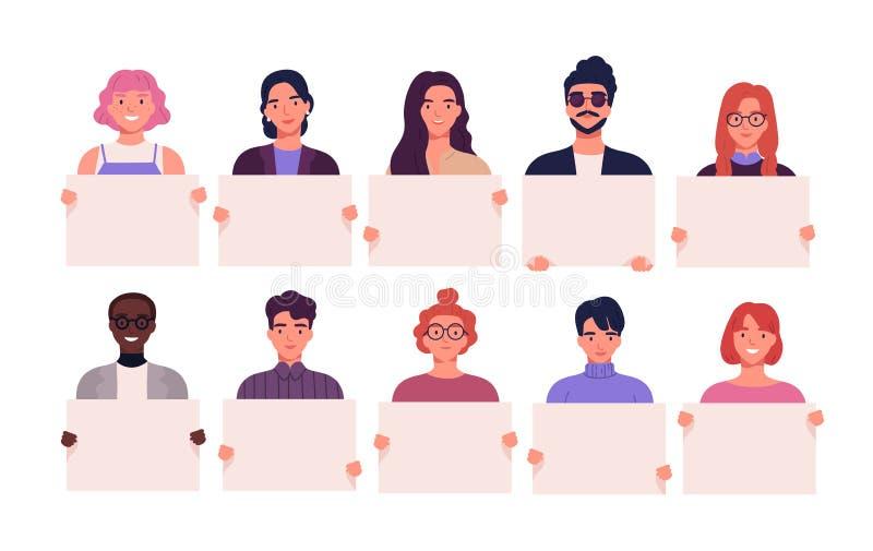 Samling av att le unga män och kvinnor som rymmer rena plakat Packe av glad man och kvinnliga tecknad filmtecken vektor illustrationer