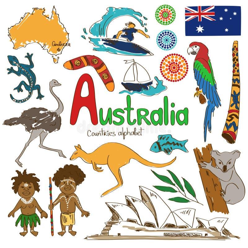 Samling av Australien symboler stock illustrationer