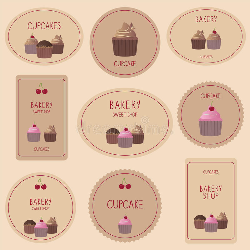 Samling av bageriemblem, etiketter och symboler stock illustrationer