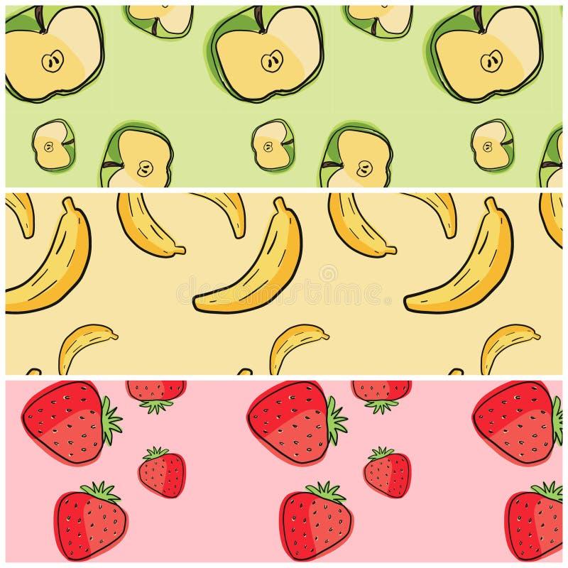 Samling av bakgrund för tre fruktmodeller royaltyfri foto