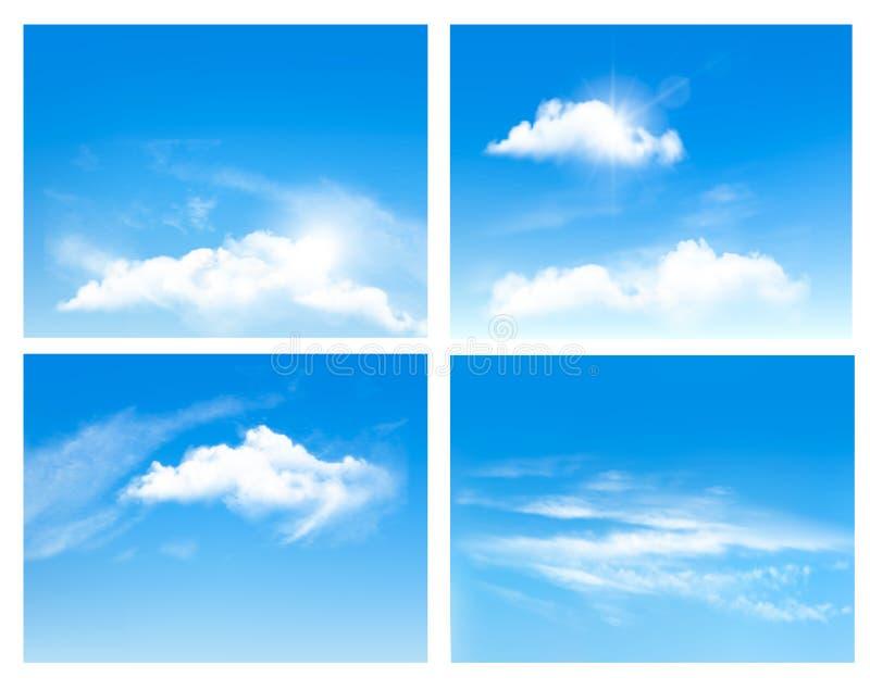 Samling av bakgrunder med blå himmel och moln vektor illustrationer