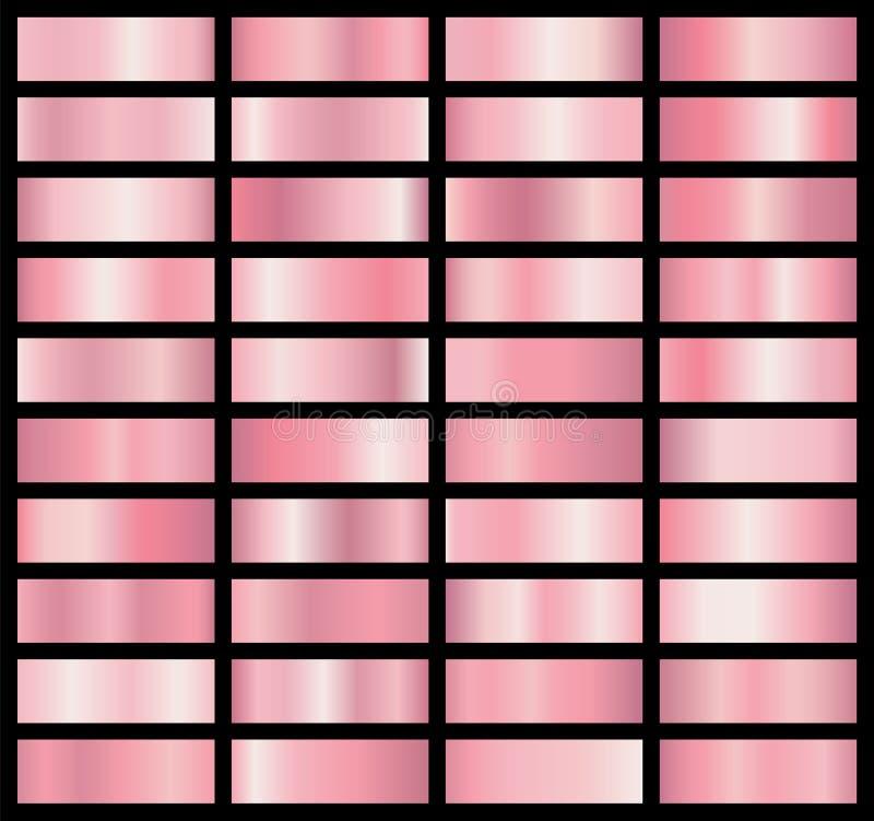 Samling av bakgrunder med en metallisk lutning Briljantplattor med rosa guld- effekt också vektor för coreldrawillustration royaltyfri illustrationer