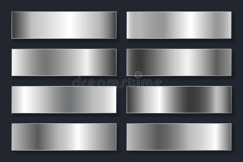 Samling av bakgrunder med en metallisk lutning Briljantplattor med silverkromeffekt också vektor för coreldrawillustration vektor illustrationer