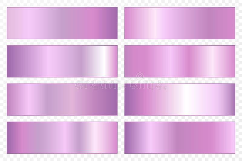 Samling av bakgrunder med en metallisk lutning Briljantplattor med ultraviolett effekt också vektor för coreldrawillustration stock illustrationer