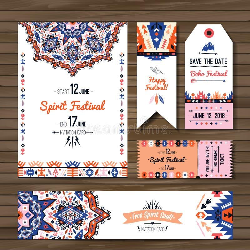 Samling av baner, reklamblad eller inbjudningar med geometriska beståndsdelar Reklambladdesign i bohemisk stil stock illustrationer