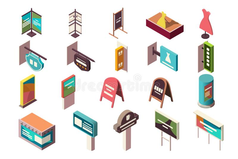 Samling av baner, tecken som annonserar för institutioner vektor illustrationer