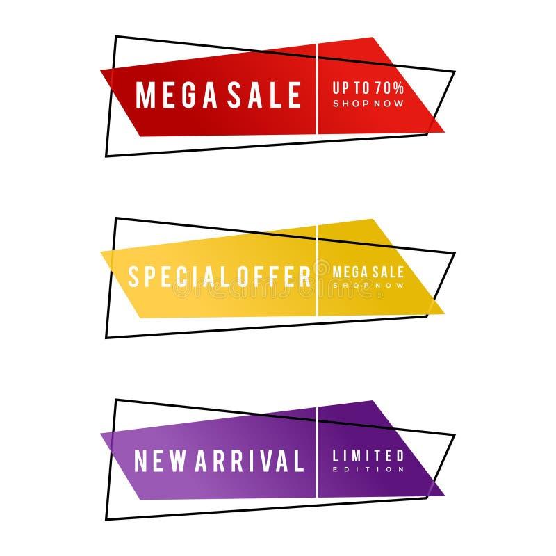 Samling av banret för försäljningsbefordran, mega Sale, specialt erbjudande, ny ankomst, 70% av, inskränkt upplaga vektor illustrationer