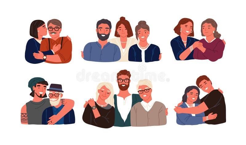 Samling av barn eller barnbarn med föräldrar och morföräldrar Farfar, farmor, fader, moder och ungar vektor illustrationer