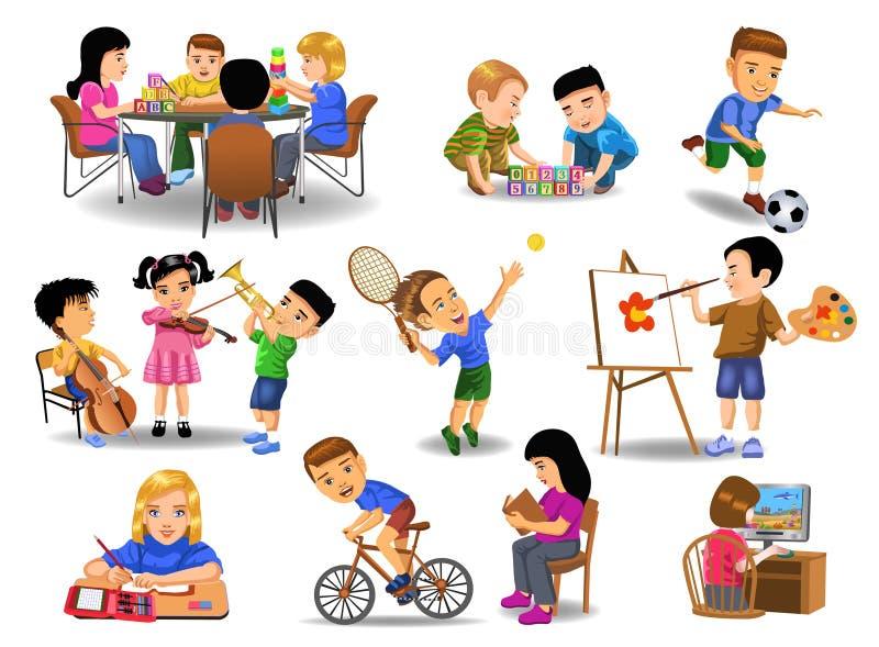 Samling av barn som gör olika skola- och fritidaktiviteter vektor illustrationer
