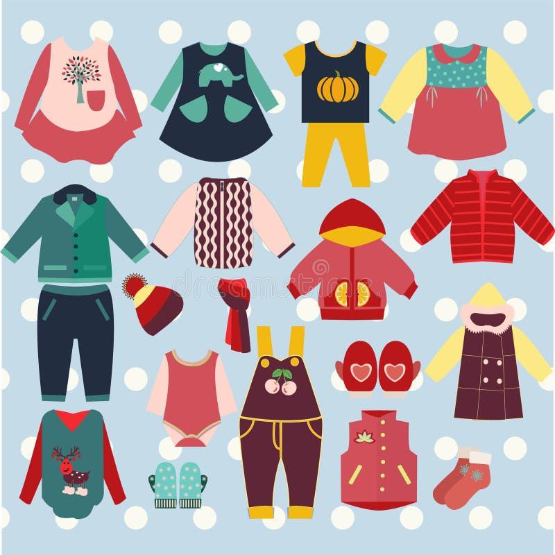 Samling av barns kläder - illustration vektor illustrationer