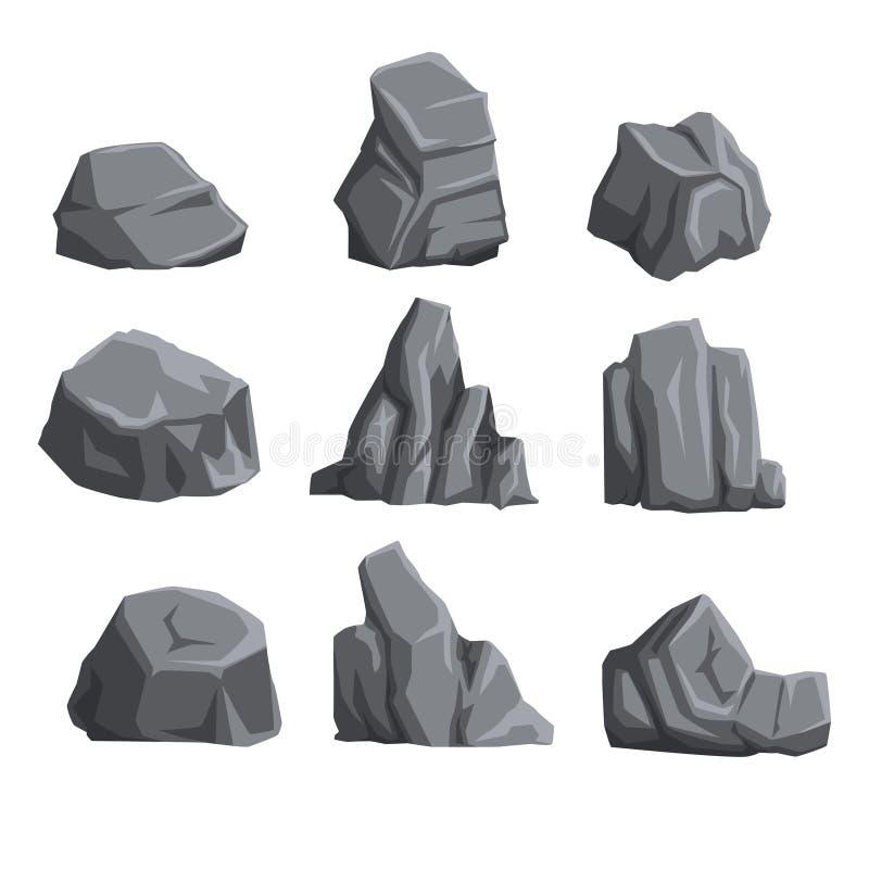 Samling av bergstenar med ljus och skuggor Vagga landskapdesignbeståndsdelar Uppsättning för tecknad filmstilstenblock plant vektor illustrationer