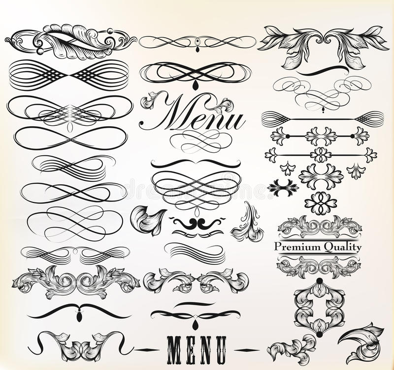 Samling av beståndsdelar för retro design för vektor calligraphic och pag vektor illustrationer