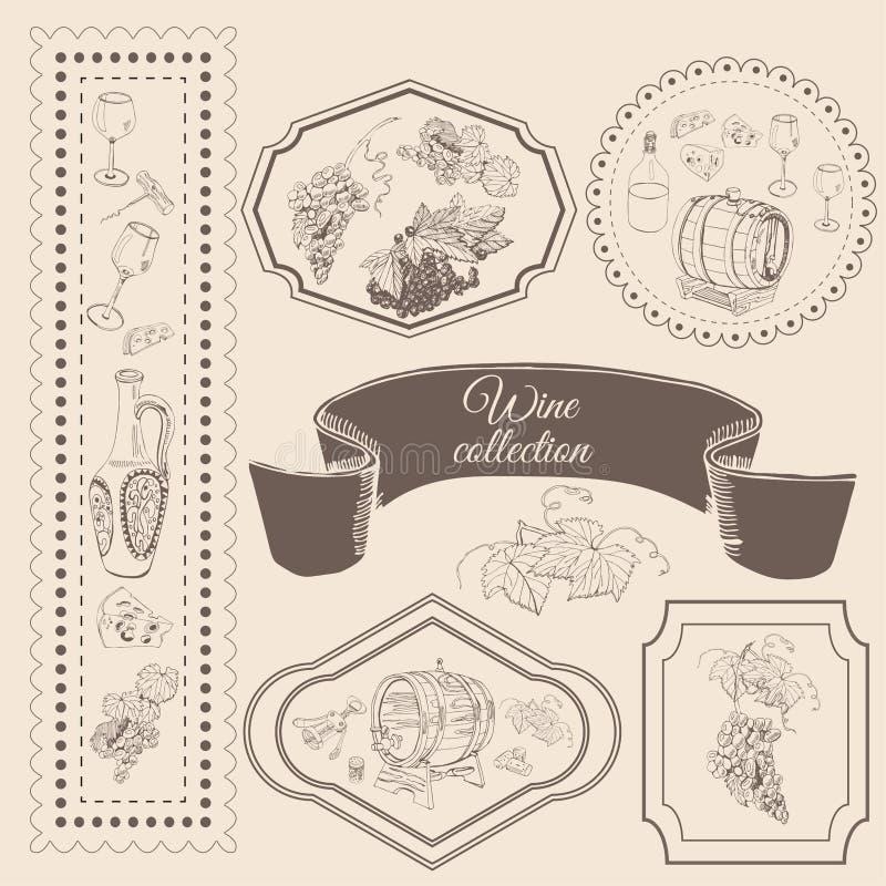 Samling av beståndsdelar för vinprodukt i ram Den drog handen skissar objekt i vitagestil vektor illustrationer