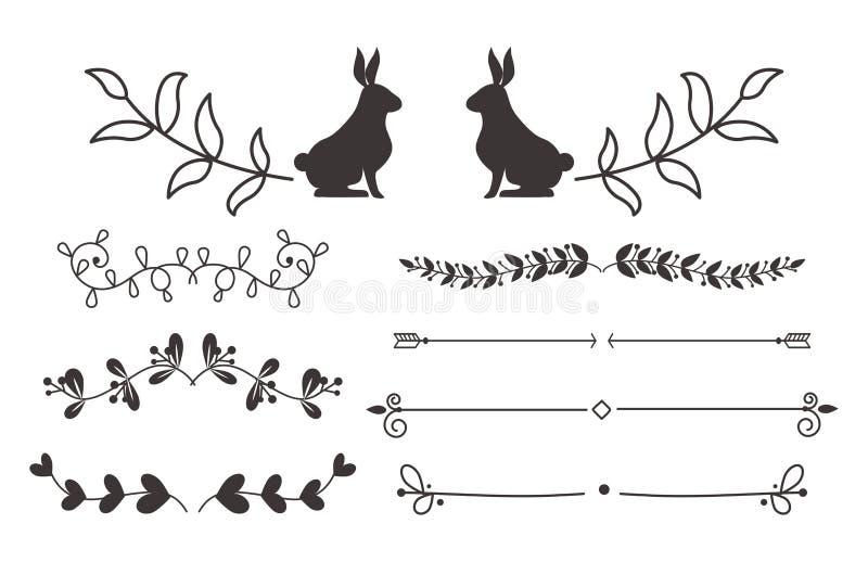 Samling av beståndsdelen för illustration för calligraphic för stil för vektoravdelare för tappning för gräns design för ram den  stock illustrationer