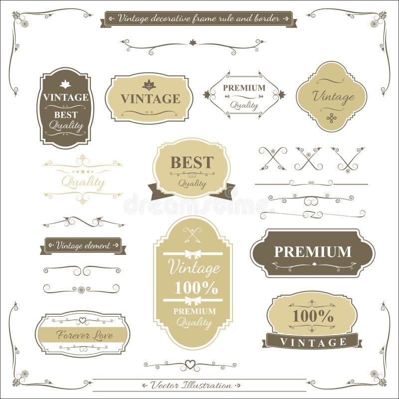 Samling av beståndsdelen för regel och för design för tappningramgräns royaltyfri illustrationer