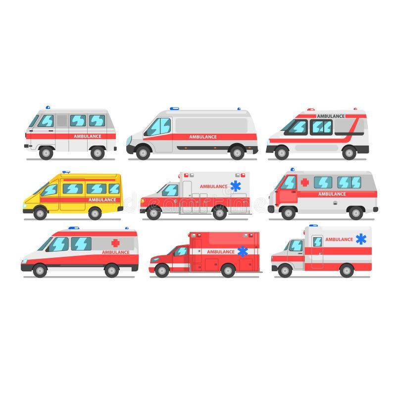 Samling av bilar för ambulansservice, nöd- medicinsk skåpbilvektorillustration på en vit bakgrund vektor illustrationer