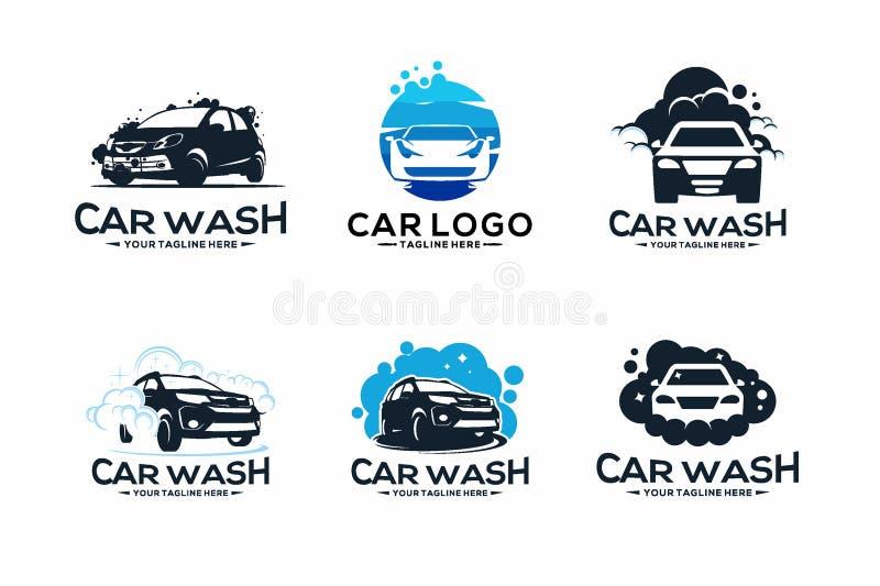 Samling av biltvätt Logo Design Template royaltyfri illustrationer